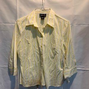 Style & Co yellow white button down